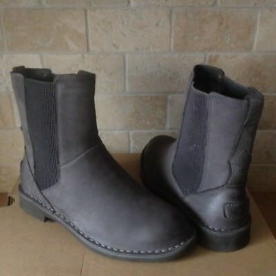 a601399a57d UGG LARRA CHARCOAL Leather Sheepskin Ankle Boots Booties Size US 11 Womens