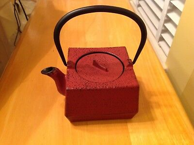 Vintage Japanese Tetsubin Cast Iron Square Tea Coffee Kettle Teapot