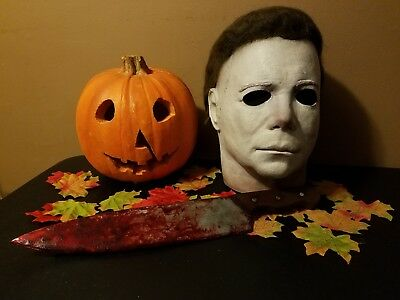 """Halloween Michael Myers Mask (Replica 17"""" Prop Weapon Wood Knife)Extra Bloody 🔪"""