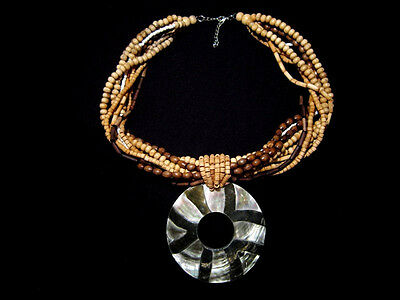 Vintage, Outstanding Exotic Necklace, Mother Of Pearl Shell Pendant!!!