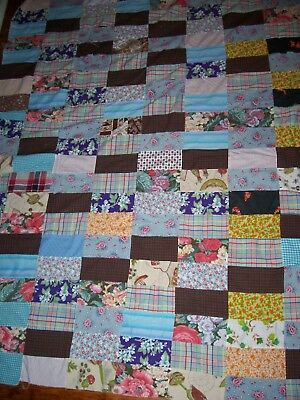 Antique Vintage Quilt TOP, Cotton, FEED SACK,  Hand Stitched