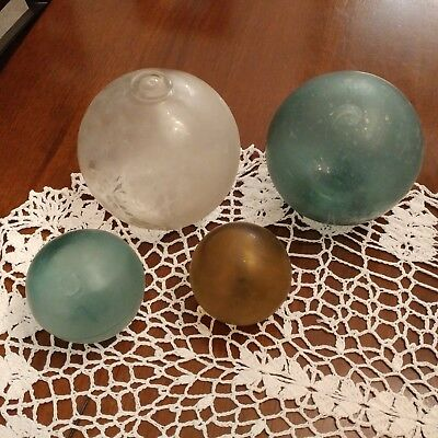 Vintage Lot of Four (4) Fishing FLOATS:  Antique Glass Ball, Sizes Vary, 4 Total