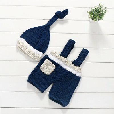 Newborn Baby Photography Costume Props Crochet Wool Outfits Pants Hat Set WD