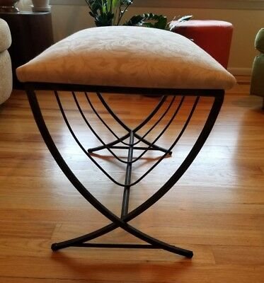 Miraculous Vintage Vanity Stool Mid Century Metal Base Jacquard Dailytribune Chair Design For Home Dailytribuneorg
