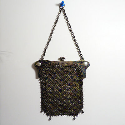 Antique Art Nouveau German 935 Sterling Silver Purse Handbag with Pearl Gemstone
