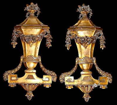 A Pair Of Antique French Bronze/ Brass Ormolu Furniture Decors Pediments Mounts