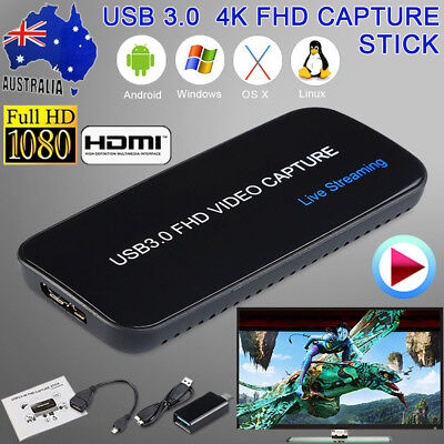 4K Video Game Capture USB 3.0 FHD 1080P HDMI Live Streaming Recorder PC PS4 Xbox