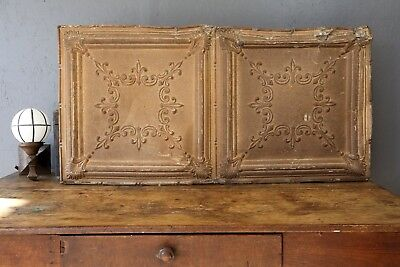 Antique Victorian Ceiling Tin Tile Gold Gothic Panel Salvage Arts Crafts Large