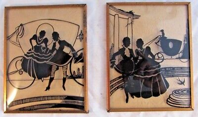 Lot Of 2 - Antique Silhouette Pictures - Convex Glass Lovers Framed Vintage