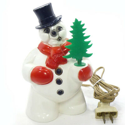 1950s Royalite SNOWMAN WITH TREE Christmas Light Decoration Royal FROSTY!