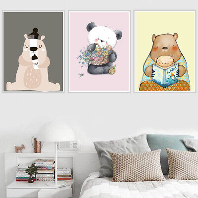 Lovely Cute Bear Canvas Art Painting Poster Living Room Picture Home Wall Decor