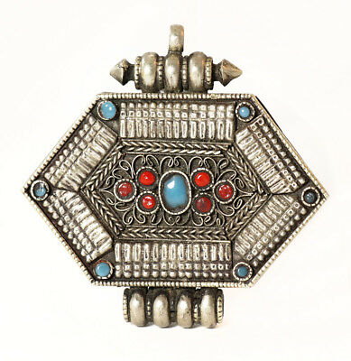 Antique Buddhist woman's gau pendant, silver with turquoise, coral [11588]