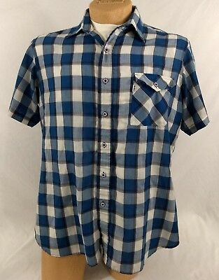 LEVIS VINTAGE SHIRT Light Chambray Cotton Blue White Checked SS Mens XL Casual