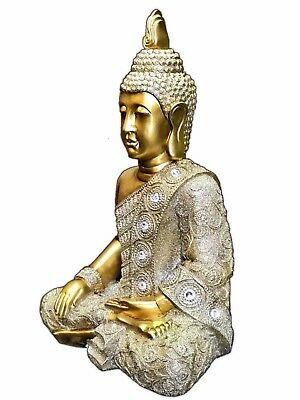 Thai Buddha Meditating Peace Harmony Gold Statue Thailand Home Decor Zen Garden
