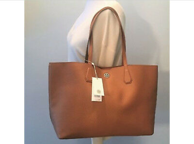 NEW WITH TAG TORY BURCH Large Brody Tote Bag  BARK Brown Leather Gold Inside$395