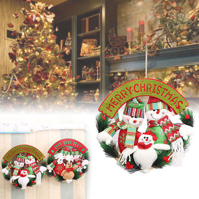 6d22 Wreath Circle Xmas Door Hanging Santa Claus Hanging Door