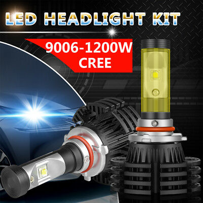 Pair 9006 HB4 CREE1200W 180000LM LED headlight Kit bulbs Low Beam 6000K Foglamp