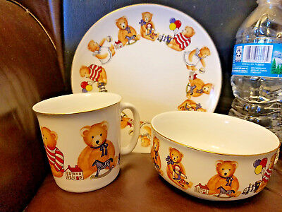 Set of 3 Child Kid Ceramic Bear Bowl Cup Plate Made in Japan