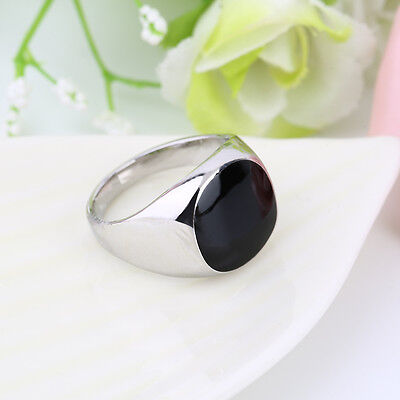 Non-Fade Stainless 18K Silver Plated Black Onyx Stone Engagement Wedding Ring AZ
