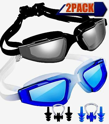 Swim Goggles Swimming Pack Of 2 Anti Fog Uv Protection With Nose Clip Ear Plugs