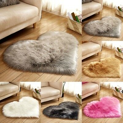 Anti-Skid Rugs Area Heart Shaped Shaggy Fluffy Rug Carpet Bedroom Floor Trend ZN