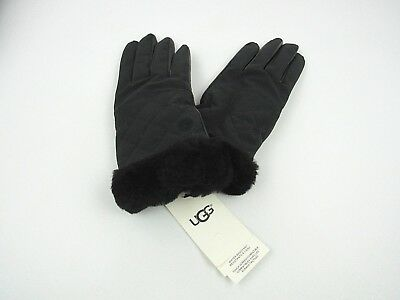 Ugg Women's Black Quilted Nylon Smart Gloves W/ Fur Shearling Cuff L/Xl