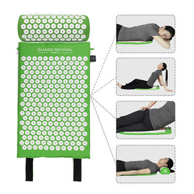 Green Acupressure Mat and Pillow Set Back Neck Pain Stress Tension Muscle Relaxa