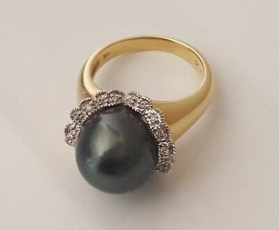 14k solid gold Tahitian Pearl Diamond ring 9.16g size O