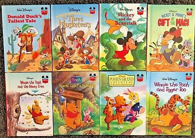 Disneys Wonderful World Of Reading Childrens Hardcover 8 Book Lot Pooh Mickey