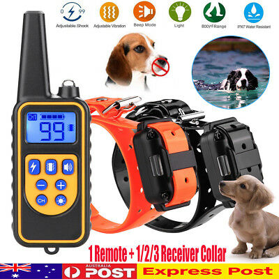 800M Rechargeable ECollar LCD Remote Control Electric Training Shock Pet Dog AU