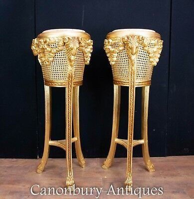 Pair French Plant Stands - Empire Jardinieres Basket Weave Baskets