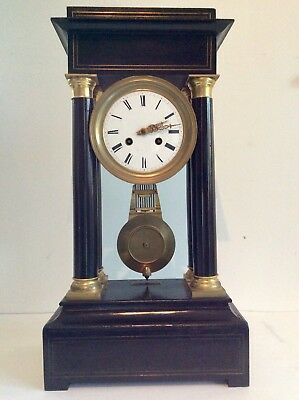 Fabulous, Tall French Ebonised Portico Chiming Clock with Boulle inlays