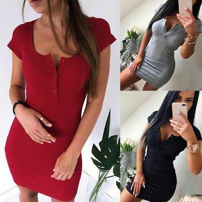 Women Short Sleeve Slim Bodycon Dress Ladies Casual Stretch Button Midi Dress AU