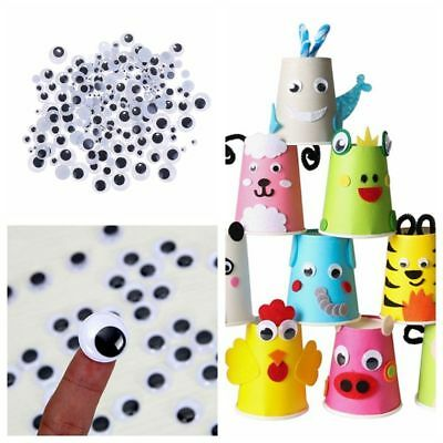 100Pcs Joggle Movable Black Eye Wiggly Google Googly Eyes Craft Stick On Art