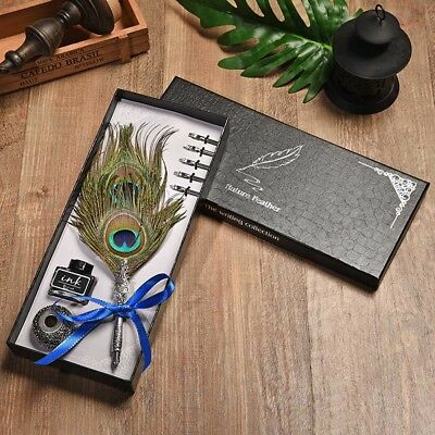 Peacock Feather Writing Fountain Caligraphy Dip Quill Pen Set Nibs Box Gifts UK