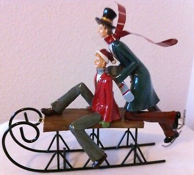 NEW - Christmas Table-Top Decor - Dickens/Victorian-style - 2 Figurines Sledding