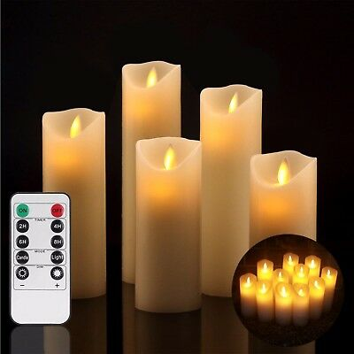 Flameless Candles Ivory LED Real Pilar Remote Control with Timer 5 PACK