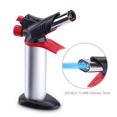 New Double Flame Culinary Torch Kitchen Butane Professional Food Cooking Torch