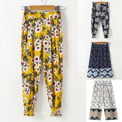 Child Girls Kids Loose Long Pant Flowers Dance Bloomers Trousers Printed Pant UK
