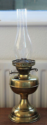 Vintage Brass Oil Lamp With Glass Chimney