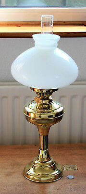 Vintage Brass Oil Lamp With Opaline Shade & Glass Chimney