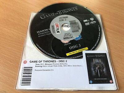 Game Of Thrones Season 1 - 6  Missing A Disc  99P Per Disc