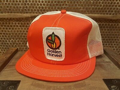 Vintage GOLDEN HARVEST Mesh Snapback Patch Trucker Hat Cap K PRODUCTS MADE USA