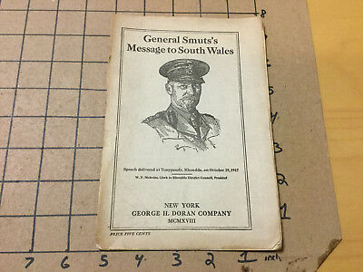 vintage Original -- GENERAL SMUTS'S MESSAGE to SOUTH WALES - 1918