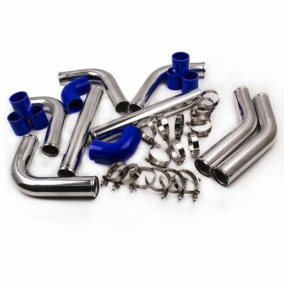 Universal 8pcs 2.5INCH  BLUE COUPLER+TURBO INTERCOOLER PIPING KIT+T-Bolt CLAMPS