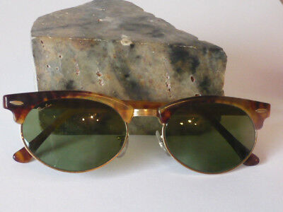 Real Vintage Ray Ban Clubmaster by Bauch und Lomb U.S.A. in tortoise