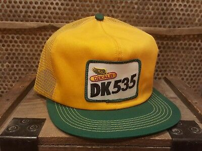 Vintage DEKALB DK535 Mesh Snapback Patch Trucker Hat Cap K PRODUCTS MADE IN USA