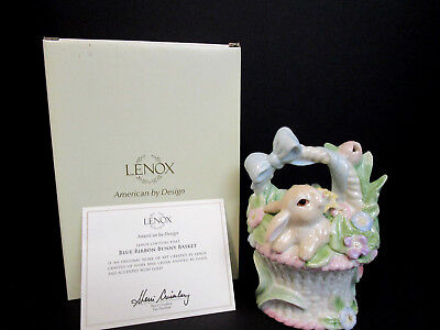 Lenox Blue Ribbon Bunny Basket  Trinket Keepsake Box Figurine-NEW IN BOX W/COA