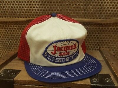 Vintage JACQUES SEEDS Mesh Snapback Patch Trucker Cap Hat K BRAND MADE IN USA