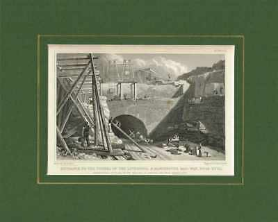 Old Antique Engraving Print Liverpool Lancashire Manchester Railway Tunnel c1830